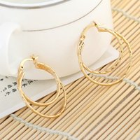 Wholesale Low Price Gold Earrings - Mix Styles Lowest Price Stylish 18K Rose Gold Plated Hoop Earrings Fashion Women Jewelry Double Layer Earrings H6