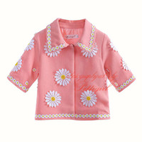 bebek kız paltosu deseni toptan satış-Pettigirl Sıcak Satış Çiçek Desen Sevimli Bebek Kız Mont Sonbahar Toptan Pembe Moda Çocuk Giyim OC90225-646F Giymek
