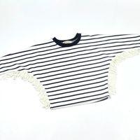Wholesale Boys Bat Shirts - Autumn Kids Boutique Clothing Clothes Boy Girl T shirt shirts Children Striped Tassel Bat Sleeve t-shirts t-shirt Toddler Spring Tops 2016