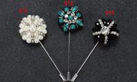 alfileres florales de solapa al por mayor-14 colores de moda margarita flor solapa Pins perlas florales hombres hombres de cristal broche para trajes hechos a mano palo broche pins 20 unids / lote