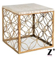 Wholesale Peck Hollywood Regency White Marble Silver Vintage Gold Iron Cube End Table Export Item