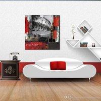 pintura a óleo grande ben venda por atacado-Arte da parede Pintura Big Ben e Coliseu Em Roma Imprime Sobre Tela A Imagem Da Cidade Fotos Óleo Para Decoração de Casa Impressão Deco