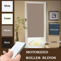 Wholesale Curtains Motors - Free shipping New Motorized Black Roller blinds 200cm Drop with Dooya motor DM25TE TWO WIRES