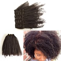 Wholesale Clips For Natural Hair - Mongolian Kinky Curly Clip In Hair Extensions Virgin Human Clip In Human Hair Extensions 7pcs lot for natural color G-EASY