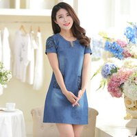 Wholesale Korean Dresses For Plus Size - 2016 summer new arrivals korean style extra plus size short sleeve embroidery denim jeans dresses for women free shipping