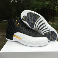 Wholesale Canvas Shoes Wings - 2016 high quality air retro 12 XII wings men Basketball Shoes Retro 12s Discolor Gold Wings Black Golden retro 12s Sports Sneakers Boots