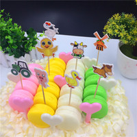 Wholesale Farm Animals Decorations - Wholesale- Cartoon Farm Animal Party cupcake toppers picks Birthday Party Decoration Kids Supplies