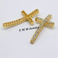 Wholesale Diy Gold Rhinestone Connector - 25x48mm Gold Plated Cross Curved Side Ways Clear AB Crystal Rhinestone Charm Bead Bracelet Connector Fit DIY