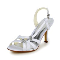 Wholesale Sandals Woman Shoes China - 2016 Nice Sandal Handmade Dyeable Satin Made in China Middle Hight Heel Women Bridal Wedding Shoes From Euro size 35-42