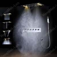 Wholesale Ceiling Shower Waterfall Electric - 5 Function LED Single Color Embeded Ceiling Mounted Bathroom Electric Shower Set With Waterfall,Rainfall Spray,Misty,Bubble