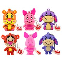Genuine 4GB 8GB 16GB 2GB 1GB USB Thumb Memory Stick Pen Drive Cartoon Cute Tiger Donkey Pig USB Flash Drive Animal