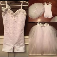 Wholesale Lace 5t Dress - New Arrival Two Pieces Flower Girls Dresses For Weddings Spaghetti Straps Beads Lace Communion Dress Bow Tulle Skirt Girls Pageant Dress
