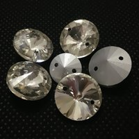 Wholesale Rhinestones Pointback - Crystal Clear Color 10mm 12mm 14mm 16mm 18mm Round Rivoli Pointback Sew On Glass Crystal Rhinestones With 2 Holes