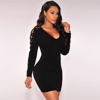 Wholesale Sexy Clubwear Apparel - XXL Sexy Deep V-Neck Mini Dress Exotic Apparel Lace-Up Long Sleeve Slim Vestidos Bandage Bodycon Dress for Women Clubwear Costume W860428A