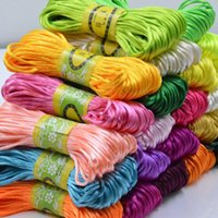 Wholesale Nylon Chinese Knotting Thread - 20 Meters roll 2.5mm Satin Silky Nylon Cord For Shamballa Bracelet Jewelry Craft DIY Rattail Beading Chinese Knot Macrame Braided Thread
