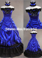 Wholesale Xxl Evening Gowns - 2015 New Elegant Blue Off The Shoulder Vintage Victorian Wedding Ball Gowns Party Dress Prom Dress Evening Dress