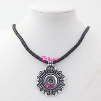Wholesale Flower Solitaires - 100% New Arrival DIY Snap Jewelry Black PU Leather Necklace with 18mm Button Flower Interchangeable Snap Pendant Necklace Collier