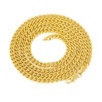 estilo mexicano colares venda por atacado-5mm / 30inch 3mm / 24 polegadas Real 24 K Banhado A Ouro Amarelo Ródio Sólido Curb Cadeia Mens Colar de Jóias Estilo Hip Hop