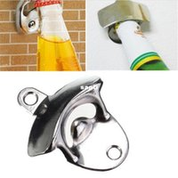 Wholesale Wholesale Bottle Opener Mount - Stainless Steel Wall Mount Bar Beer Soda Glass Cap Bottle Opener Kitchen Tool
