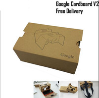 Wholesale Google version Cardboard VR Virtual Reality D Glasses Storm Mirror DIY Kit V2 Viewing head strap For iphone s plus Samsung s7 edge