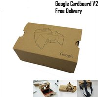 Wholesale 3d Active Shutter Wholesale - Google 2 version Cardboard VR Virtual Reality 3D Glasses Storm Mirror DIY Kit 2.0 V2 Viewing head strap For iphone 6 6s plus Samsung s7 edge