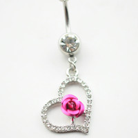 Wholesale Styles Body Jewelry - 0516 mix colors heart style belly ring style Belly Button ring Navel Rings Body Piercing Jewelry Dangle Accessories Fashion Charm 10PCS