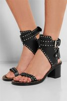 Wholesale Sexy Black Booties Shoes - Fashion Design Studded Leather Sandals Rivets Combat Ankle Booties Chunky Heels Open Toe Sexy Summer Shoes Woman Sandals