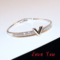 Wholesale gold costume jewelry set - European Brand Letter V Bangle Bracelet Luxury Zircon Charms Bangles for Women Party Fine Jewelry Costume Accessories