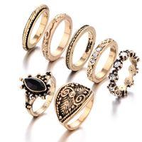 Wholesale Engagement Diamond Ring Price - Retro style carve patterns midi rings gemstone 7 pieces set Austrian diamond ring top quality factory price free shipping