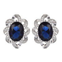 Wholesale Imitation Products China - 925 sterling silver Favourite Earrings Promotion S-3702 Dark Blue Cubic Zirconia Best Sellers The new product Christmas gift Rave reviews