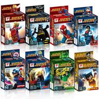 hulk blok setleri toptan satış-Ücretsiz Kargo Süper Kahramanlar Avengers Demir Adam Hulk Batman Wolverine Thor Yapı Taşları 8 adet / takım DIY Tuğla Oyuncaklar 161024