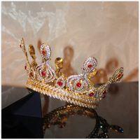 Wholesale Vintage Rhinestone Tiara Heart - Baroque Vintage Wedding Bridal Accessories Red Crystal Rhinestone Crown Tiara Headband Hairband Bridesmaid Jewelry Gold Headpiece Jewelry
