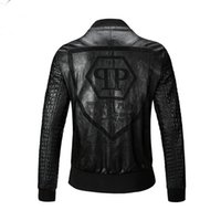 Wholesale Leather Men Coat High Neck - Free shipping 2016 New Men High Quality PU Leather Jacket Coat Black Fashion Skull Motorcycle Biker Male