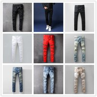 Wholesale Green Bleach - 2017 Men's Distressed Ripped Biker Jeans Slim Fit Motorcycle Biker Denim For Men Brand Designer Hip Hop Mens cotton Jeans