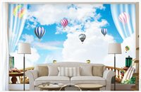 Wholesale Custom Photo Balloons - Custom modern minimalist mural photo wallpaper 3D blue sky and white sky hot air balloon mural abstract art wall peper bedroom wall decor