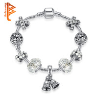 Wholesale Jingle Beads - BELAWANG Silver Color Jingle Bell Charm Bracelets&Bangles With Clear Murano Glass Crystal Bead Jewelry For Women Christmas Gift Wholesale