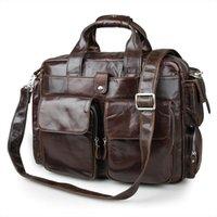 Wholesale Real Crocodile Skin Bags - Nesitu Coffee Color Vintage Real Skin Genuine Leather Men Briefcase Portfolio Messenger bags #M7219