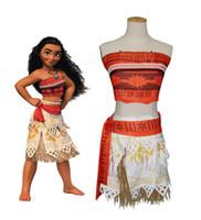 Wholesale Wholesale Dresses For Little Girls - Muababy girls costume Moana for little girls Advanture attire children's summer beach dress Children Halloween Cosplay Dresses clothes