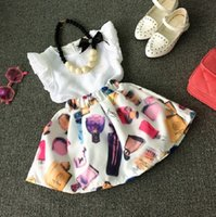 Wholesale Girls Toddler Short Dress - 2016 Summer Toddler Kids 2-7T Girls Outfits Clothes Sleeveless T-shirt + Perfume Print Skirt Dress Cool 2PCS Set without necklace K7185