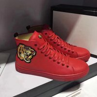 Wholesale Hip Hop High Top Sneakers - High Top Shoes Genuine Leather Shoes Men Flats Gentlemen Luxury Wedding Party Tiger Head Embroidery Hip Hop Casual Sneakers