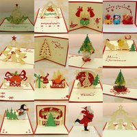 Wholesale 16styles Laser Cut Invitations Handmade Kirigami Origami D Pop UP Card Creative Merry Christmas Gift Greeting Cards hot