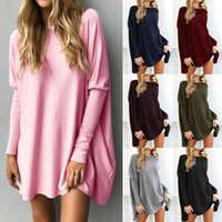 Wholesale Dolman Sleeve Sweater L - Oversized Womens Long Batwing Sleeve Knit Sweater Jumper Sweatshirt Pullover Top Long Sleeve Jumper Mini Dress Pullover