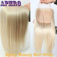 Wholesale Platinum Parts - Premium Human Hair Platinum Blonde Silk Base Lace Closure For White Women 130%Density White Brazilian Virgin Hair Lace Frontal Closure