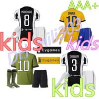 Wholesale Wicking Socks - Juvtus 2017 2018 kids kit DYBALA Soccer jersey + socks 2017 2018 HIGUAIN DANI ALVES MANDZUKIC MARCHISIO ZAZA HIGUAIN Children Football shirt