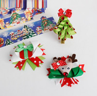 Wholesale Hair Accessories Materials - 2016 newly christmas design cloth material hair clipps for children fashion and novelty shiny cat ear  deer christmas tree hair accessories