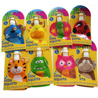 Wholesale Drinking Bottle Kids - 200ml Lovely Cartoon Animal Water Bag Eco Friendly Foldable Plastic Drink Bottle Safe Kids Gift Travel Supplies Portable Water Bottle 20pcs