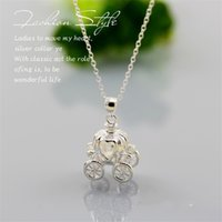 Wholesale Cinderella Pumpkin Carriage Pendant - Sterling Silver Chocker Necklace Statement Jewelry Women Party Jewelry Wedding 925 Silver Cinderella Pumpkin Carriage Can Open Necklace