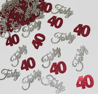 Wholesale Table Decoration Confetti - cheap lot 120pc 40th birthday Circle Confetti  Party Decoration  Table Decor Paper Confetti glitter confettis Event & Party Supplies