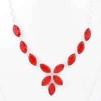 Wholesale Silver Chain Necklace Elegant - Luckyshine Fire Elegant Fashion Crystal Silver Fire Red Quartz Chain Necklace
