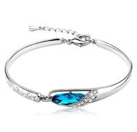 ingrosso braccialetto diamante blu zaffiro-2018 fashion Luxury Sapphire Bracciali Charms Blu Austria Diamond Bangle Bracciale placcatura in argento sterling 925 vetro scarpe gioielli a mano